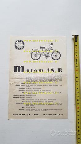Motom 48 E 1956 depliant originale ciclomotore