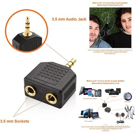 Adattatore per 2 Auricolari Audio Stereo Splitter