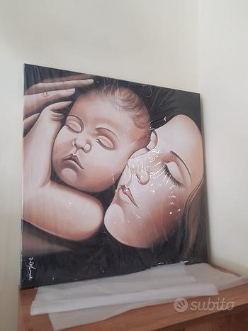 Quadro dipinto a mano madre con bambino