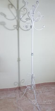 Appendiabiti in ferro battuto bianco/argento