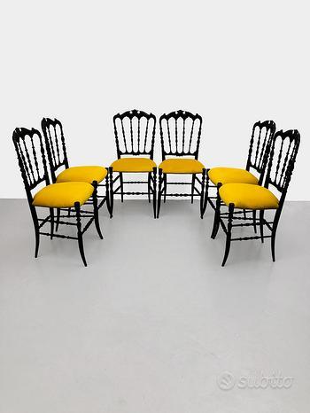 Set di 6 sedie chiavarine mod. Parigina