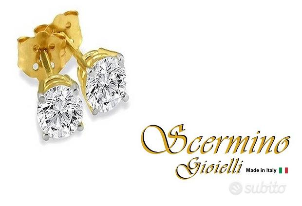 Orecchini oro giallo 18k: diamanti 1 carato