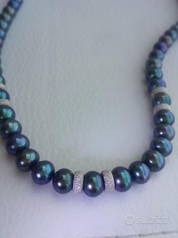 Collana perle nere e ORO 18KT chiusura e 6 inserti