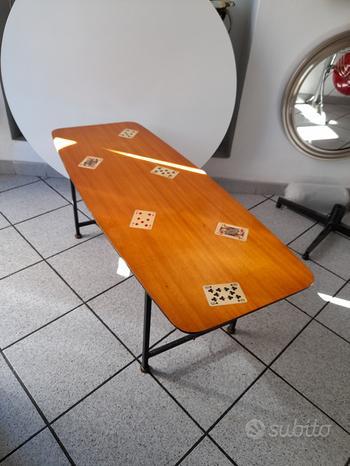 Tavolino anni 50 decoro carte da giico