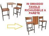FRIULI Set Tavolo Bar Pieghevole e 2 Sgabelli