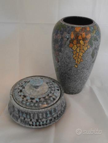 Vaso e Biscottiera ceramica