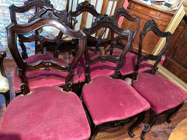 Poltrona con 6 sedie Luigi Filippo Epoca '800