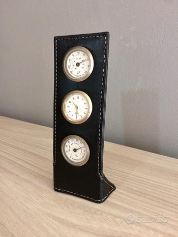 Orologio da scrittoio in cuoio (18cm) barometro