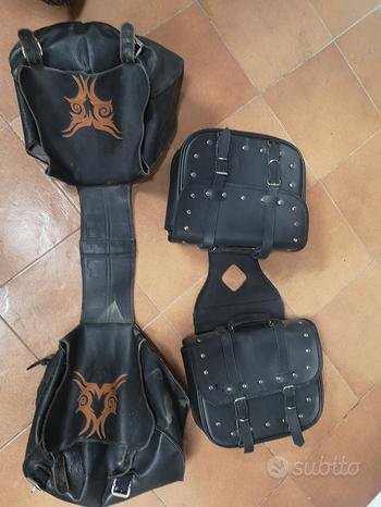 Valigie borse laterali moto custom Drag Star cuoio