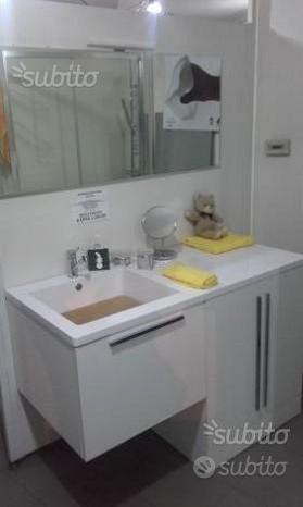 Arredo bagno con fasciatoio 130x60 rovere bianco