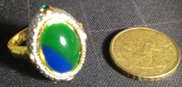 Anello in acciaio color ORO, pietra ve/az size 10