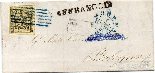 Storia Postale Antichi Stati Italiani Modena 1852
