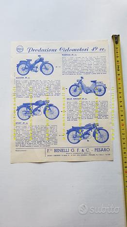 Benelli produzione ciclomotori 1960 depliant