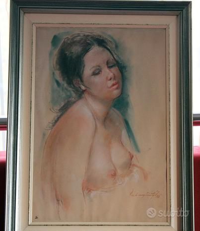 Coppia di quadri Nudo di donna Acquarelli anni 50