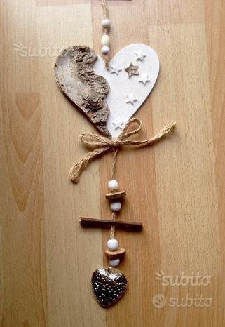 Cuore legno 32 cm. Shabby chic stelline
