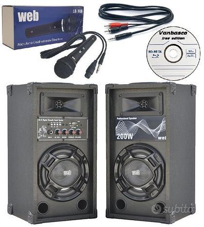 Casse amplificate microfono cavo pc basi karaoke