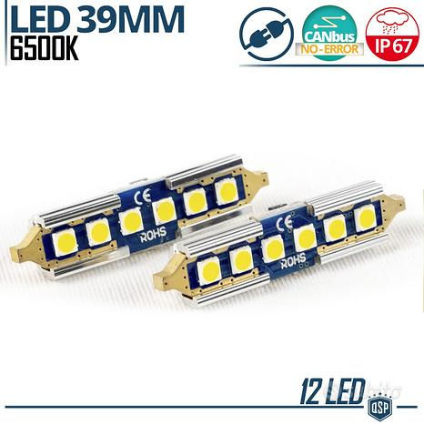 2 Lampadine LED SILURO 39mm C5W CAnbus Luce Bianca