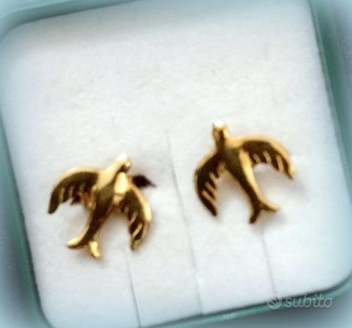 Orecchini rondini in volo in Oro giallo 18 kt