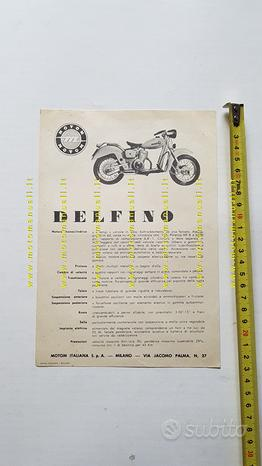 Motom 160 Delfino 1953 depliant originale moto