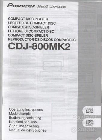 Pioneer cdj 800 mk2 manuale uso italiano