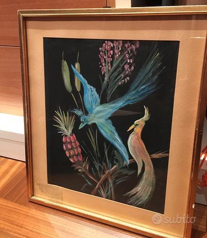 Quadro vintage - uccelli e fiori