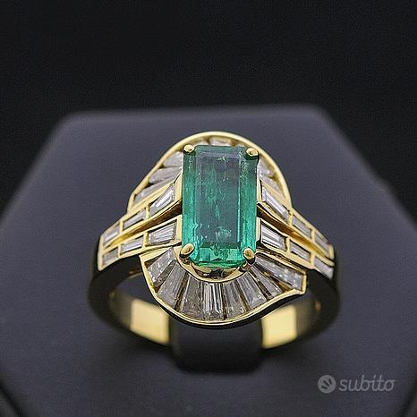 Anello hope in oro 18 kt diamanti 1.58 ct smeraldo