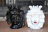 Coppia Teste Panneggio Design ceramica Caltagirone