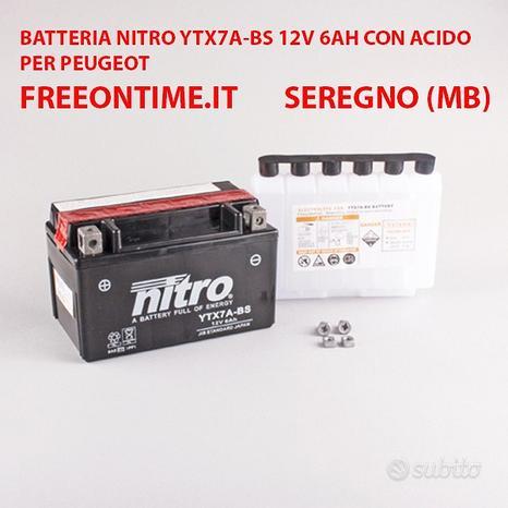 Batteria nitro ytx7a-bs 12v 6ah acido per peugeot