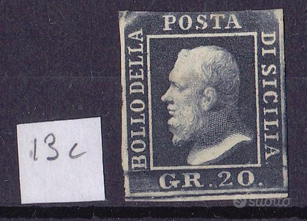 1859 sicilia 20 grana ardesia scuro con gomma mh