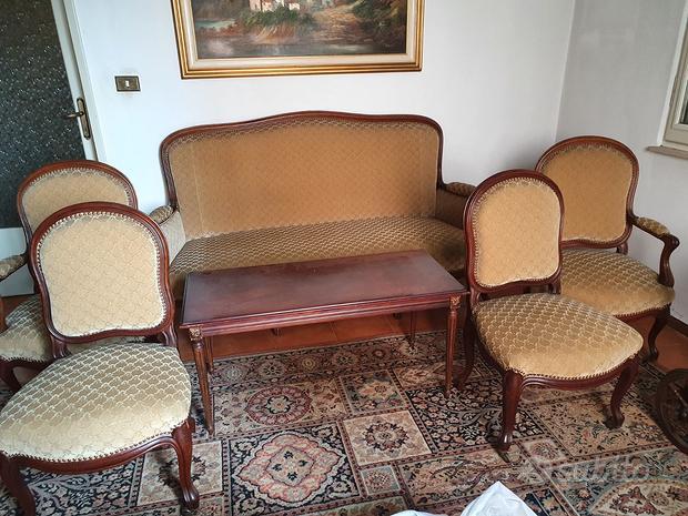 Divano, 2 Sedie e 2 Poltrone Stile Luigi Filippo