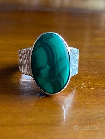 Anello argento pietra verde malachite