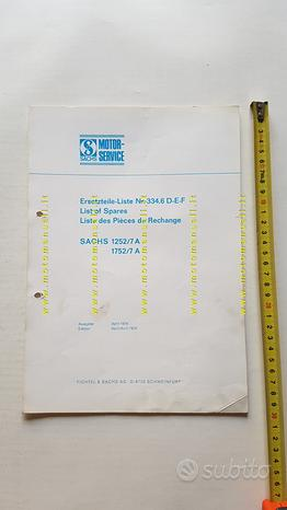 Sachs motori 1252/7A-1752/7A 1976 catalogo ricambi