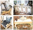 Salotto con divano, poltrone, tavolino, mobile