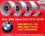 4 Cerchi BMW Alpine 6x15 4x100 E30 E21 1502-2002