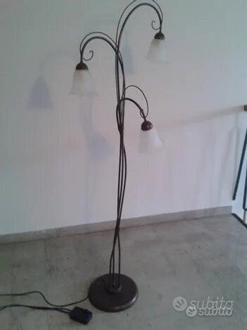 PIANTANA LAMPADA METALLO da TERRA 3Fiori VETRO