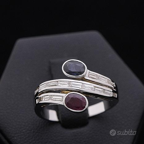 Anello contrarié oro 18kt diamanti zaffiro rubino