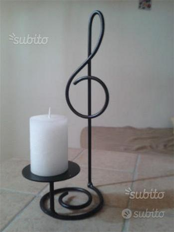 Porta candele in ferro battuto chiave di violino