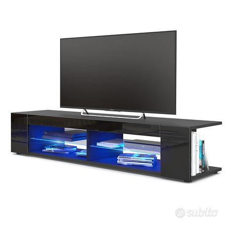 Mobile soggiorno Vasco nero, porta tv in 12 colori