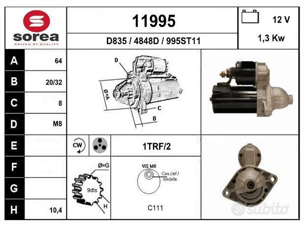 Motorino avviamento alfa/fiat 1.3 mj