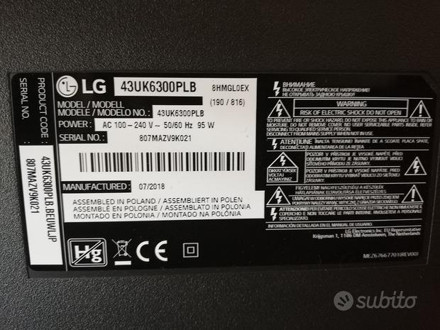 Smart Tv LG 43 pollici non funzionante