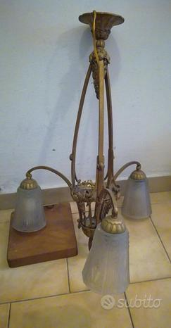 Lampadario in bronzo dorato francese anni 30
