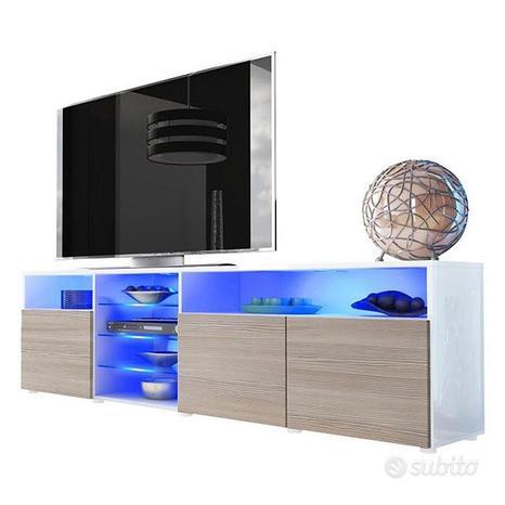 Porta tv Mozart 194, mobile soggiorno moderno led