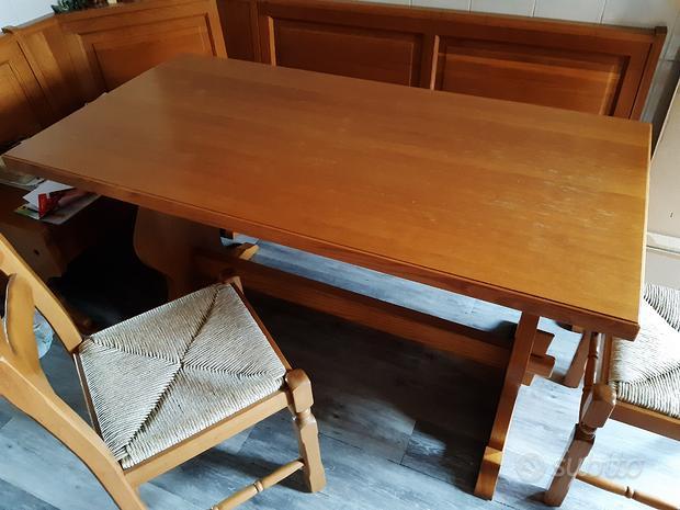 Tavolo legno massello rovere e 3 sedie