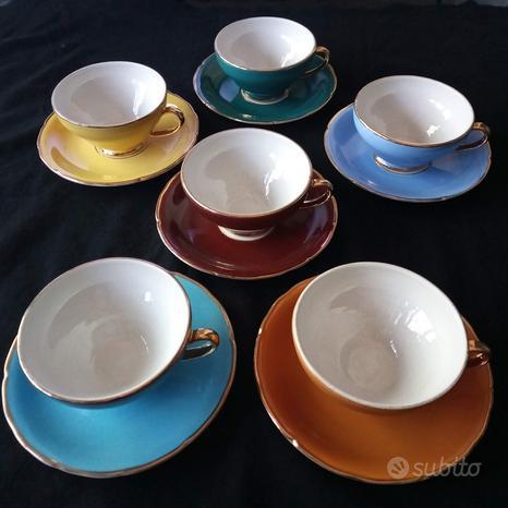 6 tazze porcellana oro Scala Pordenone