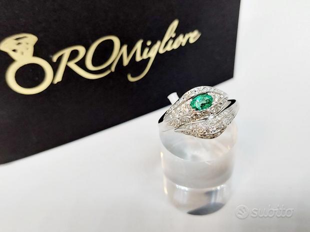 Anello Serpente Smeraldo 0,30ct e Diamanti 0,45ct
