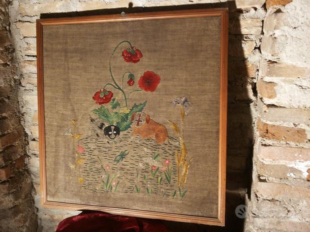 Arazzo Antico Grande Con Cornice Antica Incisione
