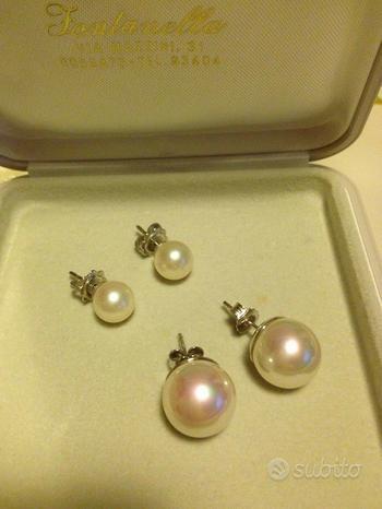 Orecchini in oro bianco e perle bianche due paia