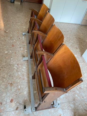 Sedie da cinema/teatro vintage con rotelle