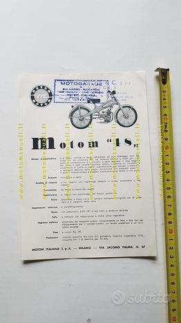 Motom 48 1953 depliant originale ciclomotore epoca