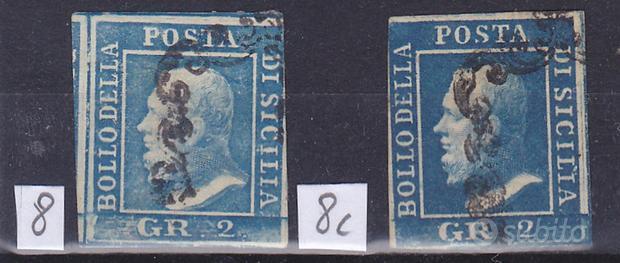 1859 sicilia 2 grana azzurro chiaro e vivo usati s